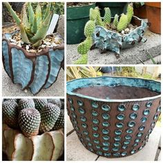 """Went to visit potter Mike Cone at his home studio this morning and stole some pics of just a few of the many creations spread around his own amazing garden. He was having a little clearance sale of sorts, so tomorrow I'll post the goodies I scored for my own patio! You can find him on FB under """"Mike Cone Ceramics"""", but he's not on Instagram - YET!! #mikeconepottery #mikeconepots #succulent #succulove #cactus #cactusmagazine #igersphx #instagramaz #az365 #myphx #SamsungGalaxyS7"""
