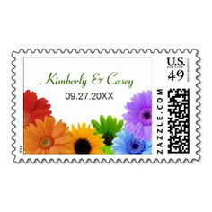 Rainbow Bouquet Wedding Postage Stamp. This great stamp design is available for customization or ready to buy as is. Of course, it can be sent through standard U.S. Mail. Just click the image to make your own!