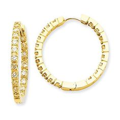 14K Yellow Gold Diamond Round In and Out Huggie Hoop Earrings (1.90 CTTW, G-I Color, I1-I2 Clarity) #yellowdiamonds