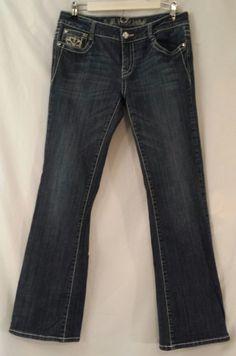 LA Idol Jeans Cotton/Spandex Medium Wash Embellished&Distressed Jr Size 11 #LAIdol #BootCut