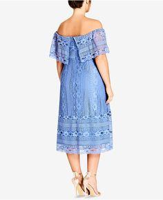 f735eb3a8a44 City Chic Trendy Plus Size Off-The-Shoulder Lace Dress Plus Sizes - Dresses  - Macy s