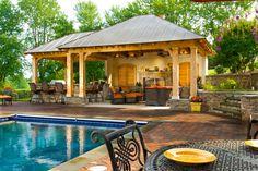 backyard design outdoor kitchen pool house small inground swimming ...