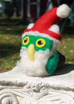 Needle Felted Owl Santa Owl Ornament Soft by TheRovingArtist, $35.00