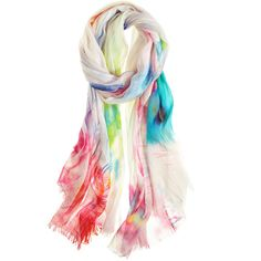 JUMA SCARVES Painted Scarf (€180) ❤ liked on Polyvore featuring shoes, scarves, accessories, multi, oversized shoes, juma, silk shoes, print shoes and patterned shoes