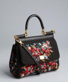 Dolce & Gabbana black cotton 'Miss Sicily' mini convertible tote