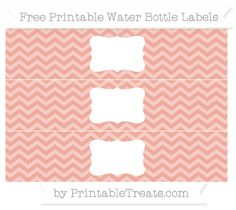 Free Pastel Coral Chevron Water Bottle Labels