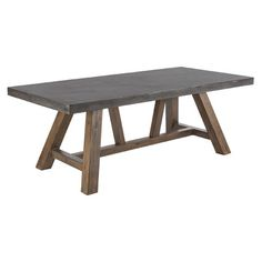 Features:  -Sealed black concrete.  -Solid acacia wood.  -Medium brown.  -Bold and distinctive piece.  -Exclusively Ours.  Top Finish: -Grey.  Base Finish: -Brown.  Base Material: -Wood.  Style: -Cont