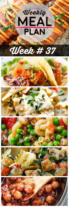 Weekly Meal Plan #37! A meal plan to help you keep things tasty each week, including teriyaki salmon, spaghetti squash tacos, white chicken lasagna soup, and more! | HomemadeHooplah.com Dinner On A Budget, Dinner Menu, Dinner Recipes, Dinner Themes, Dinner Ideas, Spaghetti Squash, Chicken Lasagna, Lasagna Soup