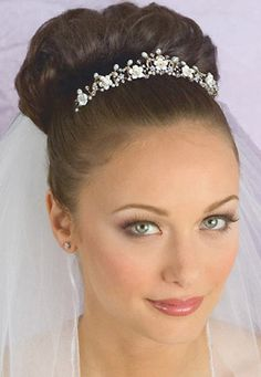 classic bridal updos with veil under the hair | Gold Crystal, Pearl and Porcelain Floral Bridal Tiara with Veil