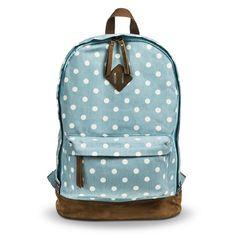 Women's Polka Dot Canvas Backpack - Blue