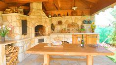 Kamenná zahradní kuchyně pohled 2 Fire Pit Oven, Stove, Pergola, Kitchen Cook, Outdoor Pergola, Arbors, Kitchens, Range Cooker, Pergolas