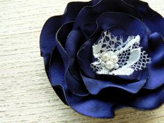 Navy blue bridal bridesmaid hair flower wedding by LeFleurShop, $10.00