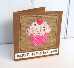 Hand stitched fabric birthday cupcake card | fabric stitched cupcake for a birthday | mixed cottons | Can be personalised