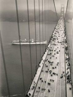 Golden Gate bridge on opening day, 1937