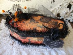 Halloween gift box coffin home decor vintage style mix media candy trinket box paper mache gift box altered art gift