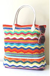 Exclusive design by Annaboo's House - Sarah Shrimpton. A beautiful summer crochet beach bag perfect for all your holiday essentials.