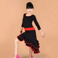 Latin Dance Dress for Girls Fashion Ballroom Dancing Dress Girl Dancewear Kids Stage Performance Costumes Vestido Baile Latino