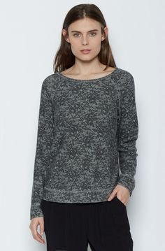 Annora B Sweatshirt Annora B sweatshirt in baby fleece features a crew neck, ribbed hem and sleeve cuffs and a feminine tonal lace print. By Joie Crew Neck Sweatshirt, Pullover, Lace Print, For Love And Lemons, Hoodies, Sweatshirts, Charcoal, Turtle Neck, Feminine