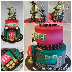 Zootopia cake with Rabbit (Judy Hopps) and wolf.(Nick Wilde) ..