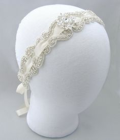 Items similar to Wedding Headband, Crystal Rhinestone Bridal Satin Ribbon Head Band, Silver Bride Head Piece, Something Blue, 35 Satin Ribbon Color Options on Etsy Plan My Wedding, Dream Wedding, Wedding Ideas, Crystal Headband, Crystal Rhinestone, Wedding Headband, Bridal Hair, Wedding Hair Pieces, Wedding Hair And Makeup