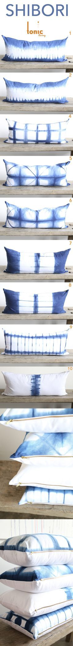 Beautiful inspiration for home dyers: Indigo Shibori pillows exclusively fromTonic Living.