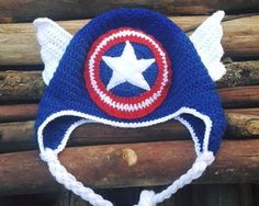 Touca Capitão América Croche - Crochet Baby Hat America Capitan