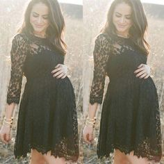 e5731117df Puseky Black Lace Maternity Dresses Long Sleeve Pregnancy Dresses Clothes  for Pregnant Women Auntumn