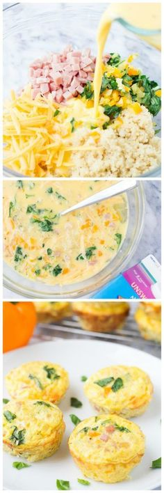 Ham, Cheese, and Veggie Quinoa Frittatas – These quinoa and egg muffins are a healthy, make ahead breakfast for busy mornings!