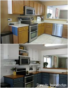 DIY kitchen remodel on a budget - before and after. $1700