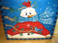 *SNOWMAN ~ Hand painted Snowman Glass Block Night light