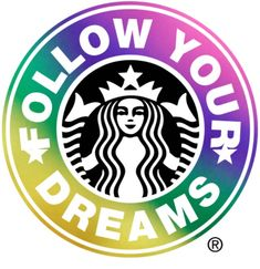 Rainbow inspirational Starbucks logo