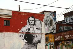 Street art tribute to Edgar Allan Poe in Brooklyn, New York City. Be inspired: http://www.penguinenglishlibrary.com/#!the-murders-in-the-rue-morgue