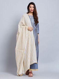 Sea Blue Chanderi Kurta with Cotton Palazzo and Pink Mulmul Dupatta- Set of 3 Pakistani Dress Design, Pakistani Dresses, Indian Dresses, Indian Outfits, Casual Work Outfits, Casual Dresses, Casual Wear, Mustard Yellow Outfit, Kurta With Pants