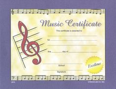 Free Printable Music Certificates Inspirational Large Music Certificate W Gold Seals Pkg 28 X 11 Free Printable Certificate Templates, Certificate Design, Free Printables, Templates Free, Easy Piano, Simple Piano, Award Template, Friendly Letter, Award Certificates