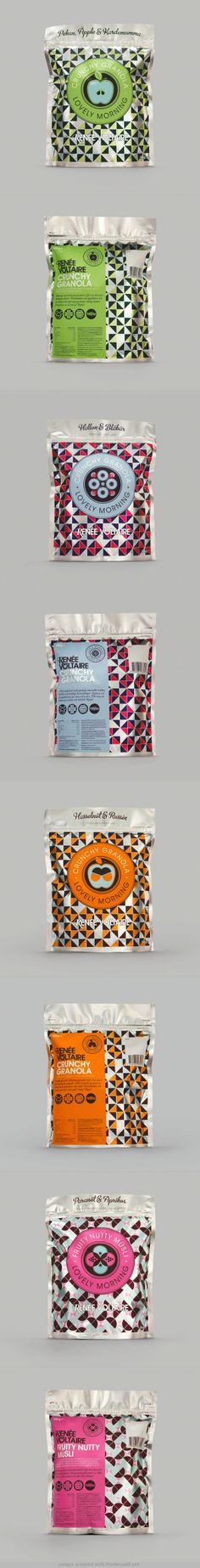 Lovely Morning cereal packaging by Renee Voltaire Cereal Packaging, Fruit Packaging, Cool Packaging, Food Packaging Design, Brand Packaging, Label Design, Graphic Design, Package Design, Branding