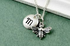 Simple Sterling Monogrammed Honey Bee Necklace  by bellezamia, $32.00
