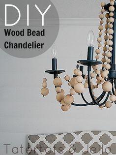 DIY - Wood Bead Chandelier