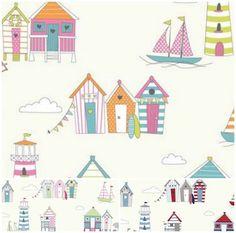 Beach huts printed fabric dunelm stuff i love for Space fabric dunelm