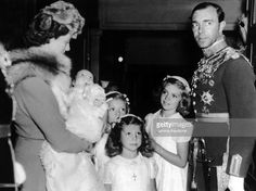 Christening princess Christina of Sweden 1943.Princess Sibylla Of Saxe-Coburg-Gotha (Her Mother) Holding The Baby Princess, Her Three Sisters, Margaretha, Birgitta And Desiree And Her Father Prince Gustaf Adolf Of Sweden.