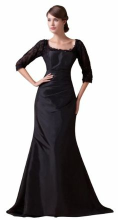 Herafa 1/2 Sleeve Sheath Evening Gowns Sweep Length Train Ruched Black Size:10 herafa,http://www.amazon.com/dp/B00BS3KT2C/ref=cm_sw_r_pi_dp_-hJesb016ABJPP19