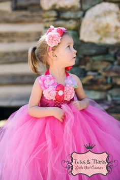 Pretty in Pink Sweet Angel Little Girls Rosette Tutu Dress, Baby Girls Princess Wedding, Party, Pink, White, Ivory Lavender on Etsy, $99.19 AUD