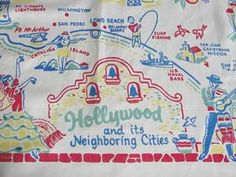 Hollywood Tourist Map Tablecloth