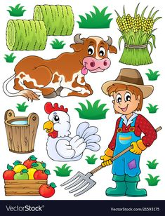 Illustration about Farmer theme set 1 - vector illustration. Illustration of animals, apple, isolated - 34291907 Farm Animals Preschool, Farm Animal Crafts, Preschool Learning Activities, Animal Activities, Community Helpers Preschool, Felt Pictures, Cartoon Sketches, Bee Crafts, Farm Theme