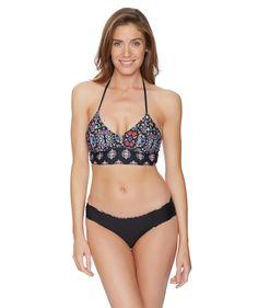 Ella Moss Womens Molded Cup Halter Swimsuit Bikini Top