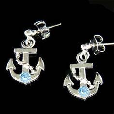 W Swarovski Crystal Blue Anchor Nautical Beach Wedding Marine Yacht Earrings New | eBay