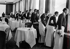 The European art of waitering...not just a menial position like it is in North America. Extensive training and serious rules are to be followed. This job is taken seriously