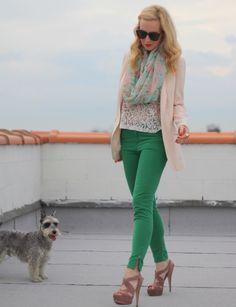 brooklyn blonde: green pants.