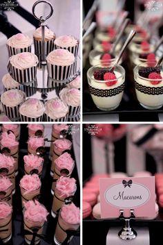 Black and pink Paris Birthday Parties, Ballerina Birthday Parties, Birthday Dinners, Pink Parties, Mom Birthday, Birthday Celebration, Black Dessert, Kate Spade Party, Parisian Party