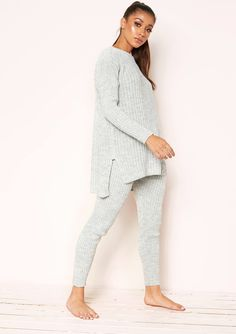 e9a88502ef Missyempire - Anya Grey Knit Jumper Loungewear Set Grey Lounge