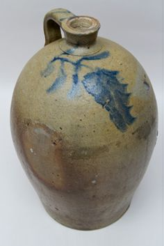 Large Antique Ovoid Stoneware Jug with Blue Freehand Decoration, Incluing Striped Handle, Large Wisteria Flower, Inscribed No. 5